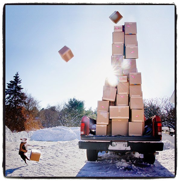 Clover kicking up UPS boxes